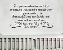 I Praise You because I am Fearfully and Wonderfully Made-Scripture wall vinyl art-Psalm 139 13-14 Bible Verse vinyl letters PS139V14-0004