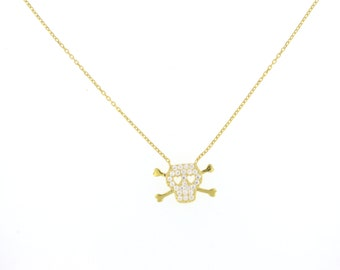 Gold Pave Skull Necklace