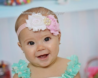 Baby Headband, Infant Headband, Newborn Headband, Shabby Chic Headband Pink and White Headband, Easter Headband
