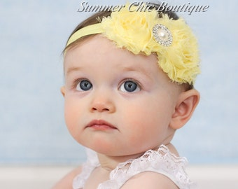 Light Yellow Baby Headband, Infant Headband, Newborn Headband, Girls Headband, Light Yellow Shabby Chic Headband, Shabby Chic Headband