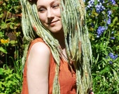 Pixie ELFLOCKS Dreadlocks Dread Falls in Green/Burnt Orange/Slate Blue for Cosplay, LARP, Clubbing, Tribal Belly Dance, Festivals, Fashion