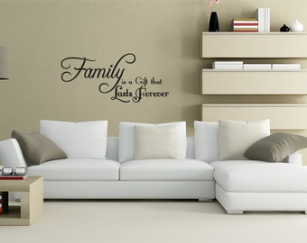 Family is a Gift Love idea Wall Decal Quote Sticker Vinyl Art Lettering (J271)
