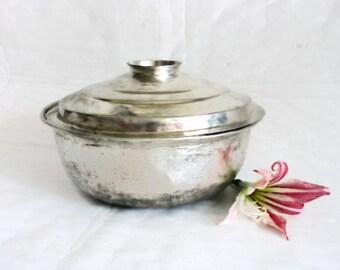 Stock pot with lid, vintage copper, tin plated casserole bowl. Rustic cookware serving dish, Silvertone primitive kitchenware, Kitchen decor