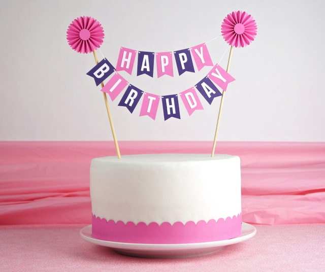 cake bunting happy birthday with rosette in pink purple on cake birthday banner