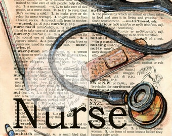 PRINT:  Nurse Mixed Media Drawing on Distressed, Dictionary Page