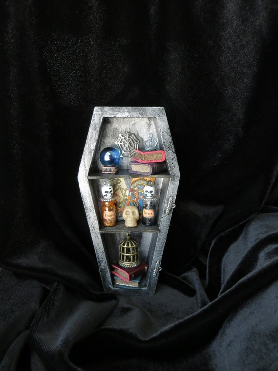 Skeleton Coffin Bookcase - Dollhouse Miniature