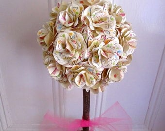 Invitation Paper Rose Topiary Centerpiece for Baby or Bridal Shower, Birthday, or Baptism  Paper Roses Made From Your Invitation.