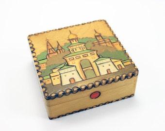 Vintage Wood Souvenir Trinket Box