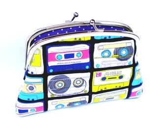 Retro coin purse, cool 80s cassette tape frame wallet black and purple polka dots - geek