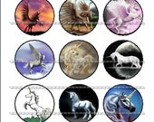 Mythical Unicorn & Flying Horse  - 15 images Bottle Beer Cap Cabochon 1 inch Circle image Digital Collage Sheet Printable download