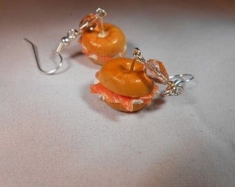 Salmon and Cream Cheese Bagel Earrings, Miniature Food, Fimo, Polymer Clay