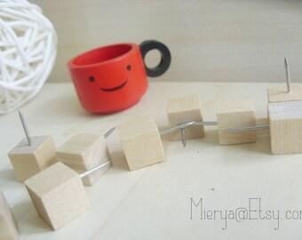 10 Pcs Wooden Push Pins - Drawing pin - Thumbtack - Square