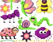 Cute critter bugs clip art set, 10 designs. INSTANT DOWNLOAD for Personal and commercial use.
