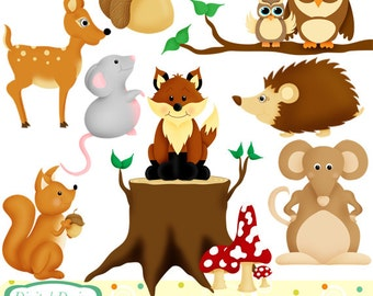 Woodland animals clip art set, 10 designs. INSTANT DOWNLOAD for Personal and commercial use.