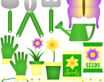 Gardening clip art set, 10 designs. INSTANT DOWNLOAD for Personal and commercial use.