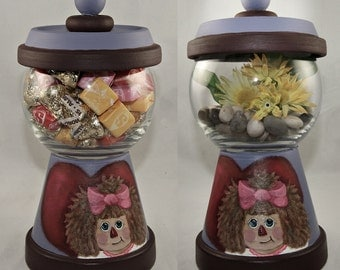 Hand Painted Raggedy Ann Terracotta Candy Dish or Centerpiece, Gumball Machine Style, Home Decor