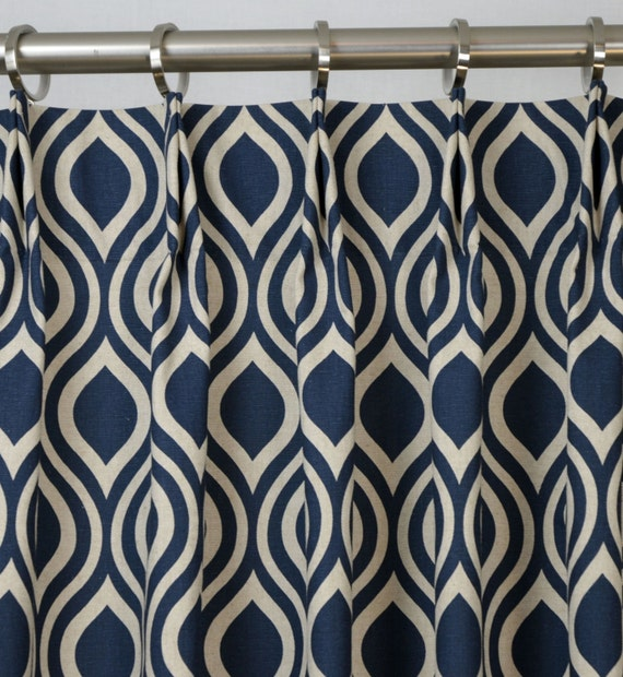 Navy BlueIndigo Natural Light Beige Linen Nicole Trellis