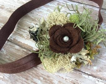 Mossy Headband. Woodland Headband. Baby Headband, Felt, Photography Prop