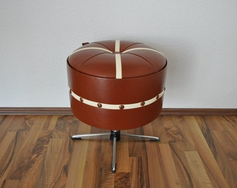 SALE Rare Mid Century Modern Ottoman / Sewing Container / Footstool. Panton Eames Era. Faux leather. Germany. 1960s.