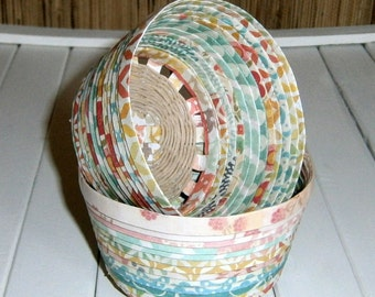 Hand Woven Paper Mini Basket - Patterned Paper with Hemp Twining, Upcycled