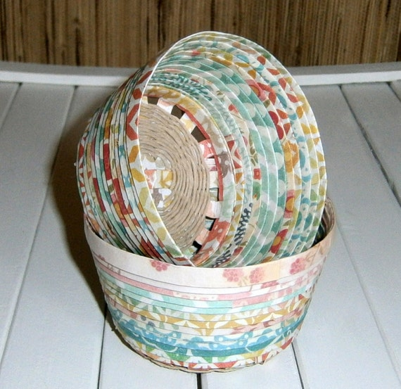 Hand Woven Paper Mini Basket Patterned Paper By