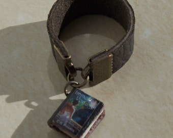 Custom Tiny Leather Book Ring With Your Cover Sz 4-16
