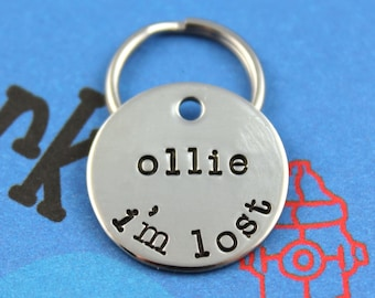 SMALL Dog or Cat Tag - Nickel Silver Custom Pet Tag - Hand-Stamped Dog or Cat ID Tag - I'm Lost