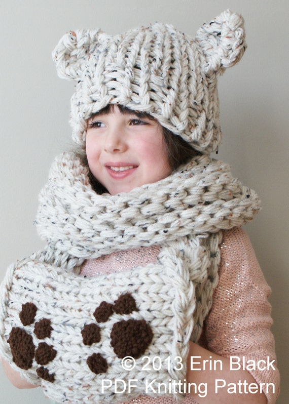 DIY Knitting PATTERN Chunky Bear Hat and Muff Cowl in