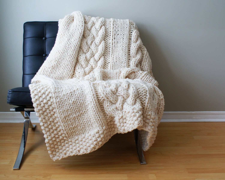 DIY Knitting PATTERN Throw Blanket / Rug Super Chunky Double