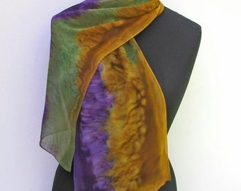 Silk Scarf, Hand Painted Olive Moss Green, Gold, Purple