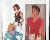 Vintage Misses' Set of Front-Wrap Tops Size: 8 10 12  Style 4628 UNCUT