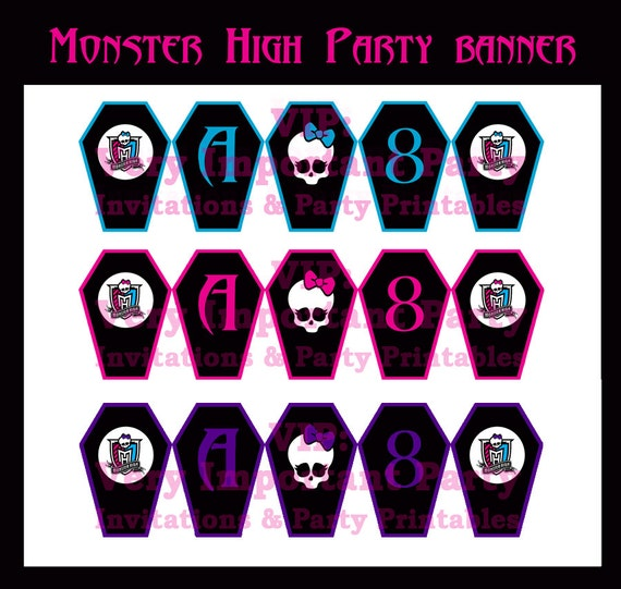 Items similar to monster high birthday party banner printable free items similar to monster high birthday party banner printable free item included special price on etsy bookmarktalkfo Choice Image