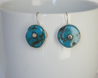 Stunning vintage turquoise bezel set in sterling silver. Genuine Turquoise Earrings.
