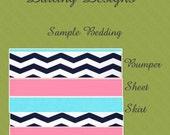 Custom Baby Bedding - Design your own - Pink Aqua Navy Chevron