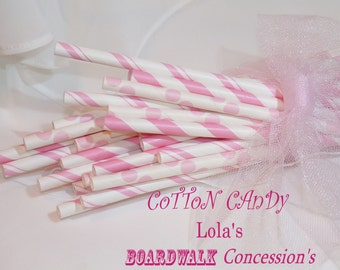 COTTON CANDY PiNk Paper Straws, 50 assorted BoardWalk Concession RetRo and VinTagE Pink Paper Straws, Party, Wedding, Events