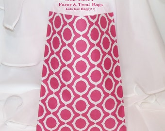 24 HOT PINK Fancy MOD LinK Favor Bags, Party Treat Bags, Candy Buffet, Cookies, Favors, Wedding, Ballet , Jazz, Brunch, Jewelry Party