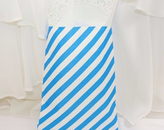 Bright Blue Candy Stripe Favor Bags, Cruise Fish Extender gift bag,  milk and cookie party Birthday, Baby Shower, carnival