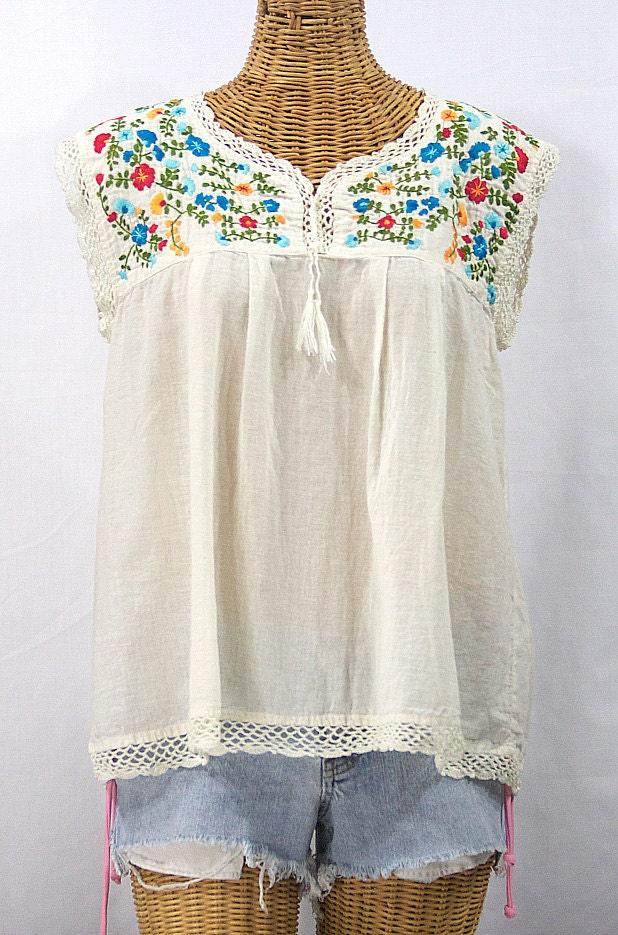 Sleeveless Mexican Peasant Top Blouse Sleeveless Hand