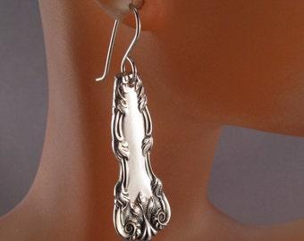 SPOON EARRINGS - birks SPOON jewelry - antique silver earrings. vintage earrings silverware earrings - dangle earring SpoonJewelry No.0056
