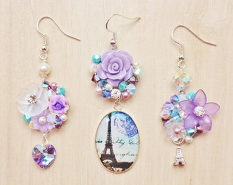 Eiffel Tower in Spring Trio Mismatched Earrings - Romantic Jewelry - Paris Eiffel Tower resin pendant, purple clay flower, rose cabochons