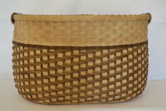 Basket Weaving With Reeds : Large reed or wicker storage basket with by brightexpectations