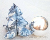 "SALE Small Stuffed Tree - Blue and Gray Poinsettias - 4"" tree"