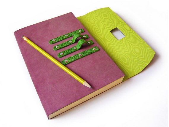 Purple suede leather journal with pen in gift box