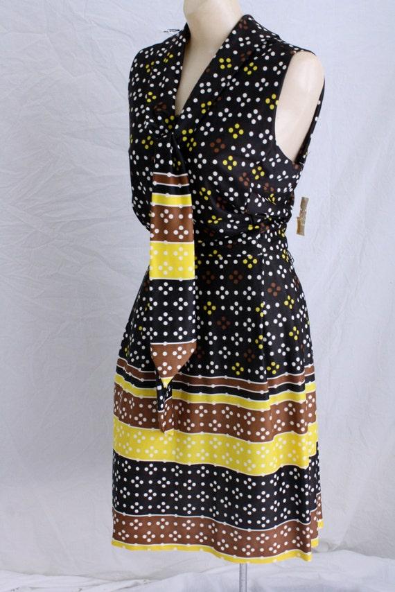 Vintage Dress-Sears Dress-Secretary Dress-1970's Dress- Polka Dot Dress-Pussy Bow Dress-Deadstock M