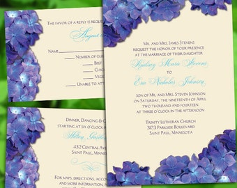 Custom Blue Hydrangea Wedding Invitations