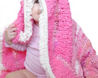 Baby/Child Handmade Bamboo Hexagon Blanket in Bubblegum Pop Pink