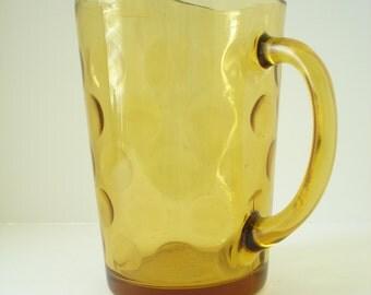 Mid Century Mod Entertaining Amber Glass Bubble Pitcher
