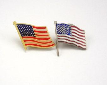 Vintage US Flags Tie Tacks 2 Lapel Pins Golden Silvertone Birthday Patriotic Veteran military patriotism senate congress 4th of july