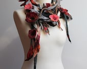 Felt Wrap Scarf  Shawl Necklace Black Grey Red Dark Burgundy Floral Green Felted Lariat  Dread Summer Fashion Belt Headband Bloom OOAK