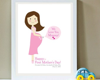 Custom Portrait, Happy First Mother's Day, Pregnant Mommy, Twins